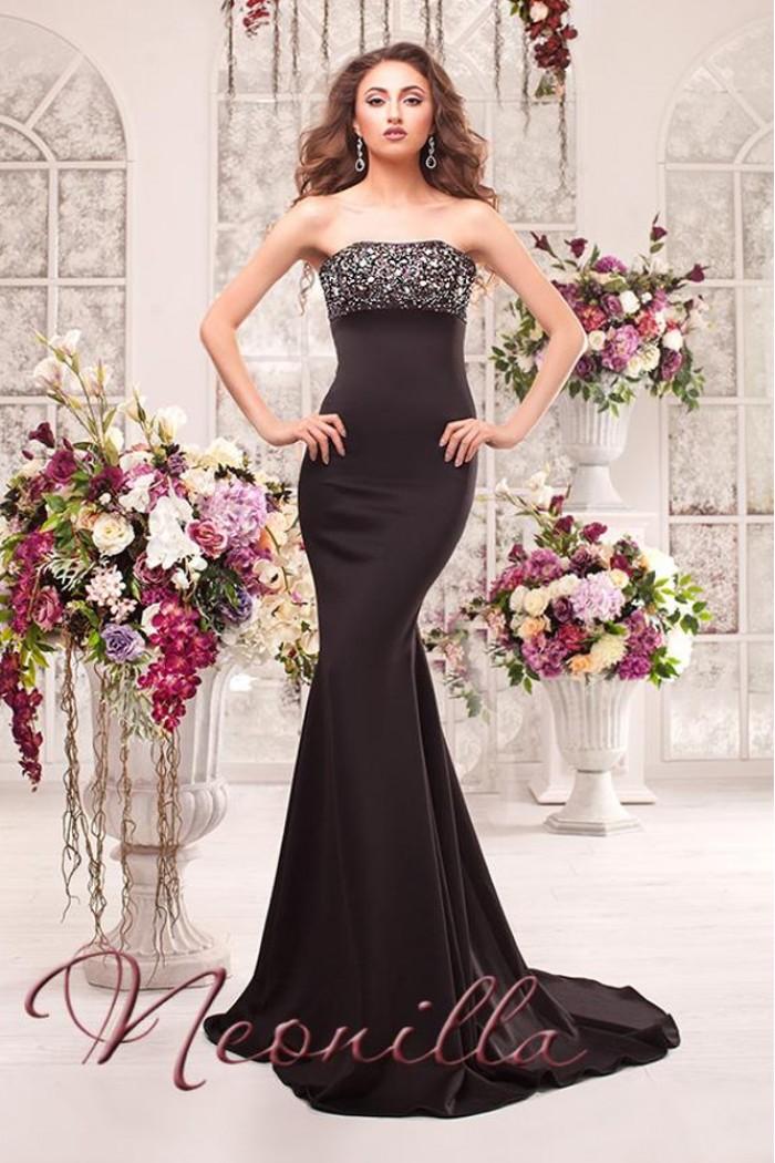 Черное силуэтное вечернее платье со шлейфом ВАССА