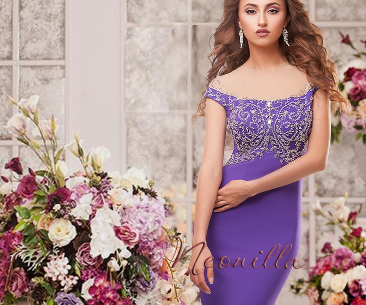 Эффектное вечернее платье фиолетового цвета ВИКТОРИНА