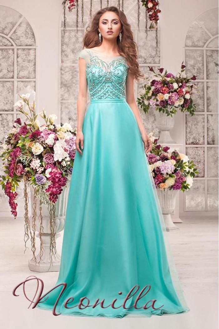 Длинное вечернее платье бирюзового цвета с расшитым корсетом ВИЛОРА
