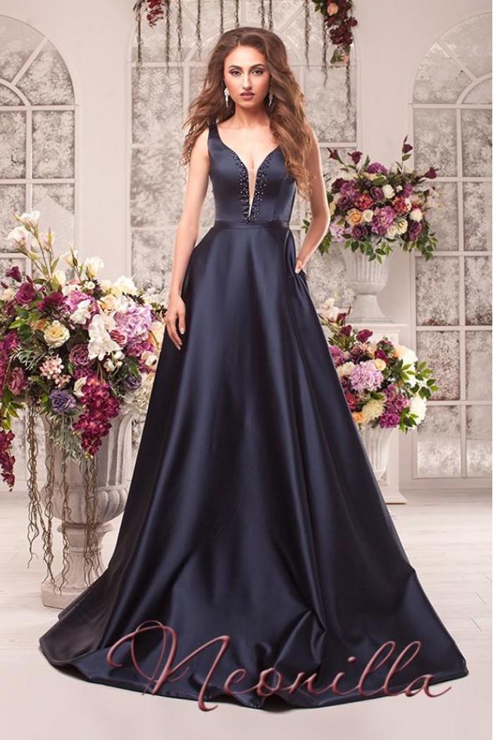 Шикарное атласное платье с глубоким вырезом зоны декольте ВИОЛЕТТА