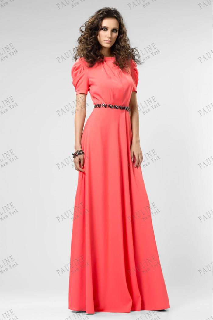 Длинное коралловое вечернее платье ЛАФАЙЕТ