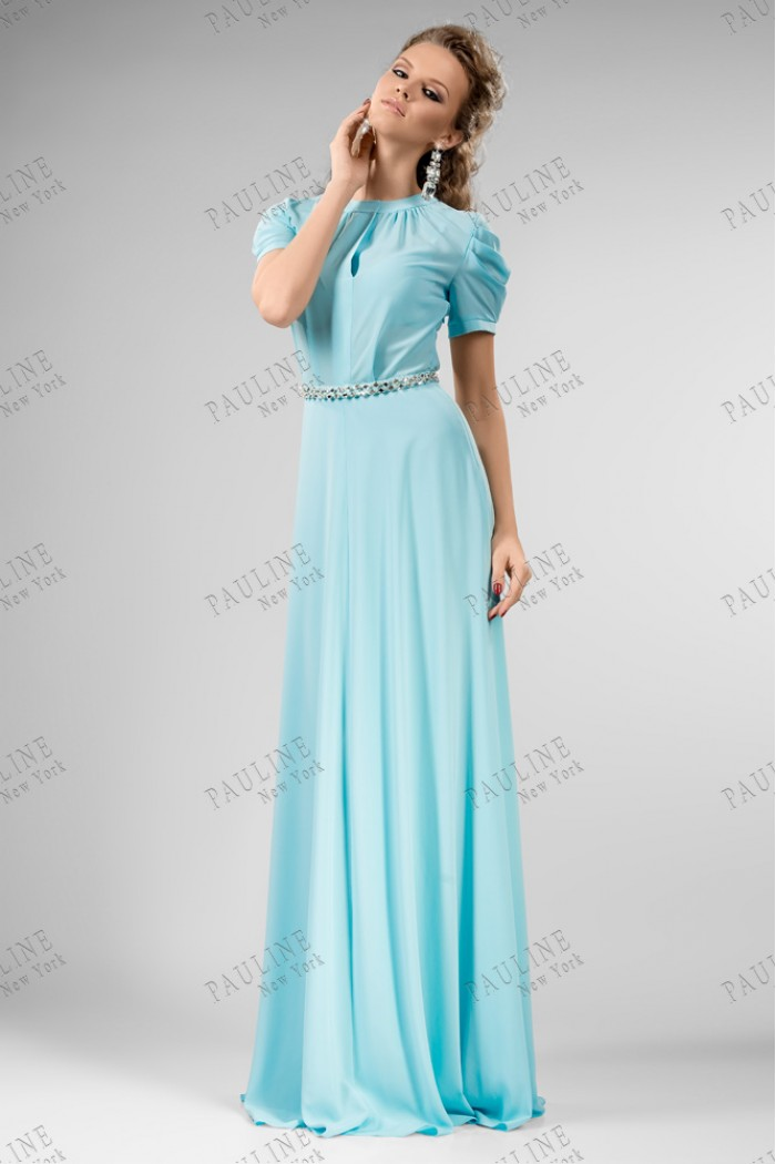 Голубое длинное вечернее платье ЛАФАЙЕТ