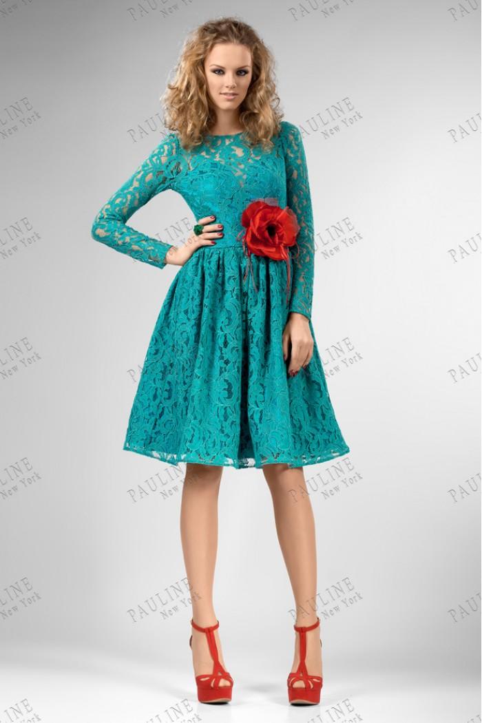 Темно бирюзовое вечернее платье с пышной юбкой НОЛИТА МИДЛ
