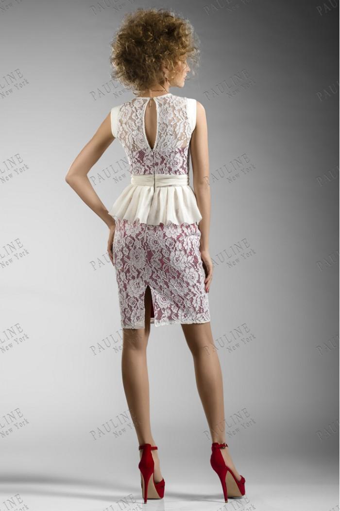 Атласное вечернее платье с кружевом СОХО