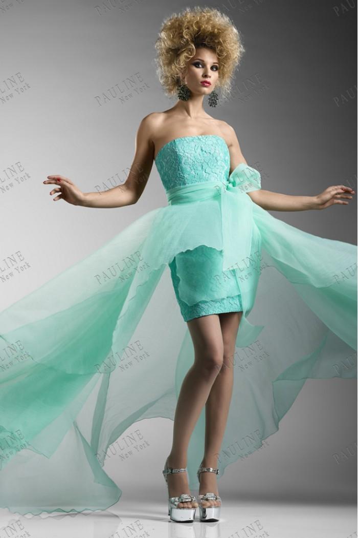 Вечернее платье с шелкловым шлейфом СЕНЕКА