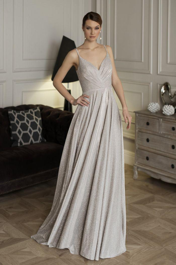 Длинное вечернее платье с глиттерным напылением и открытой спиной 73654