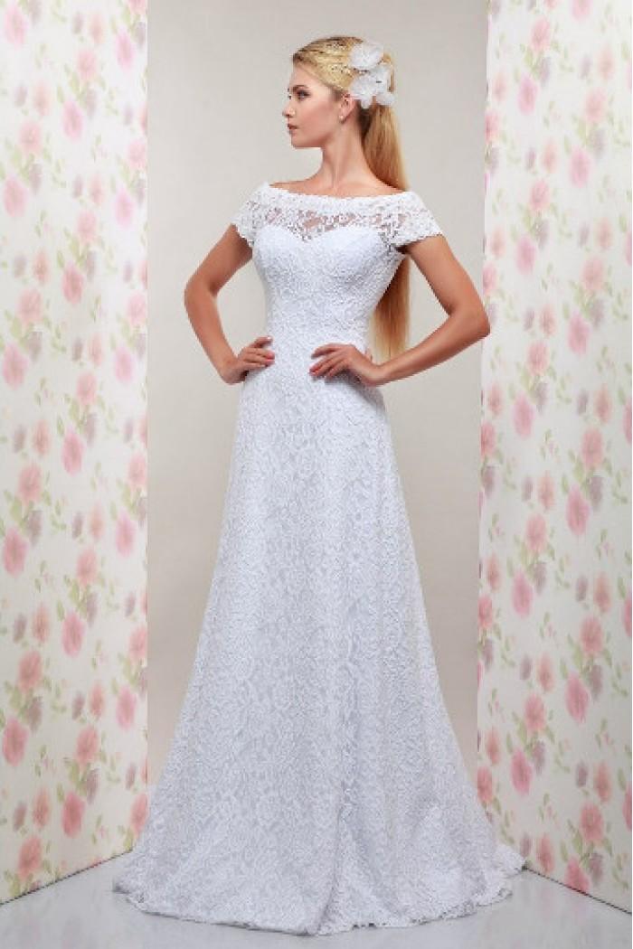 Свадебное кружевное платье А-силуэта с открытой спиной МЕЛИССА
