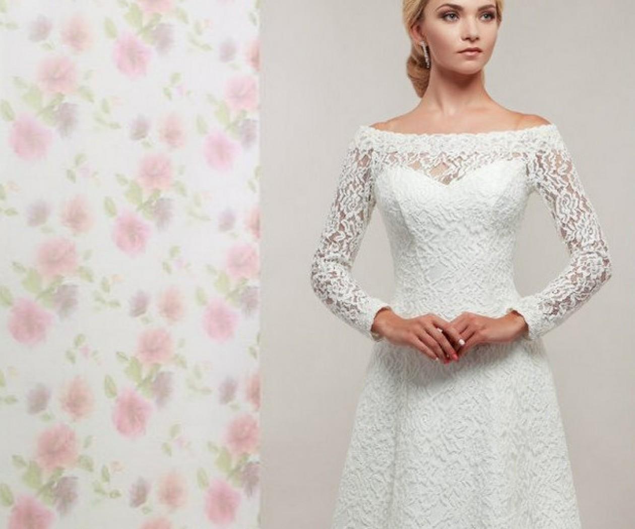 Кружевное свадебное платье А-силуэта с длинными рукавами МЕЛИССА