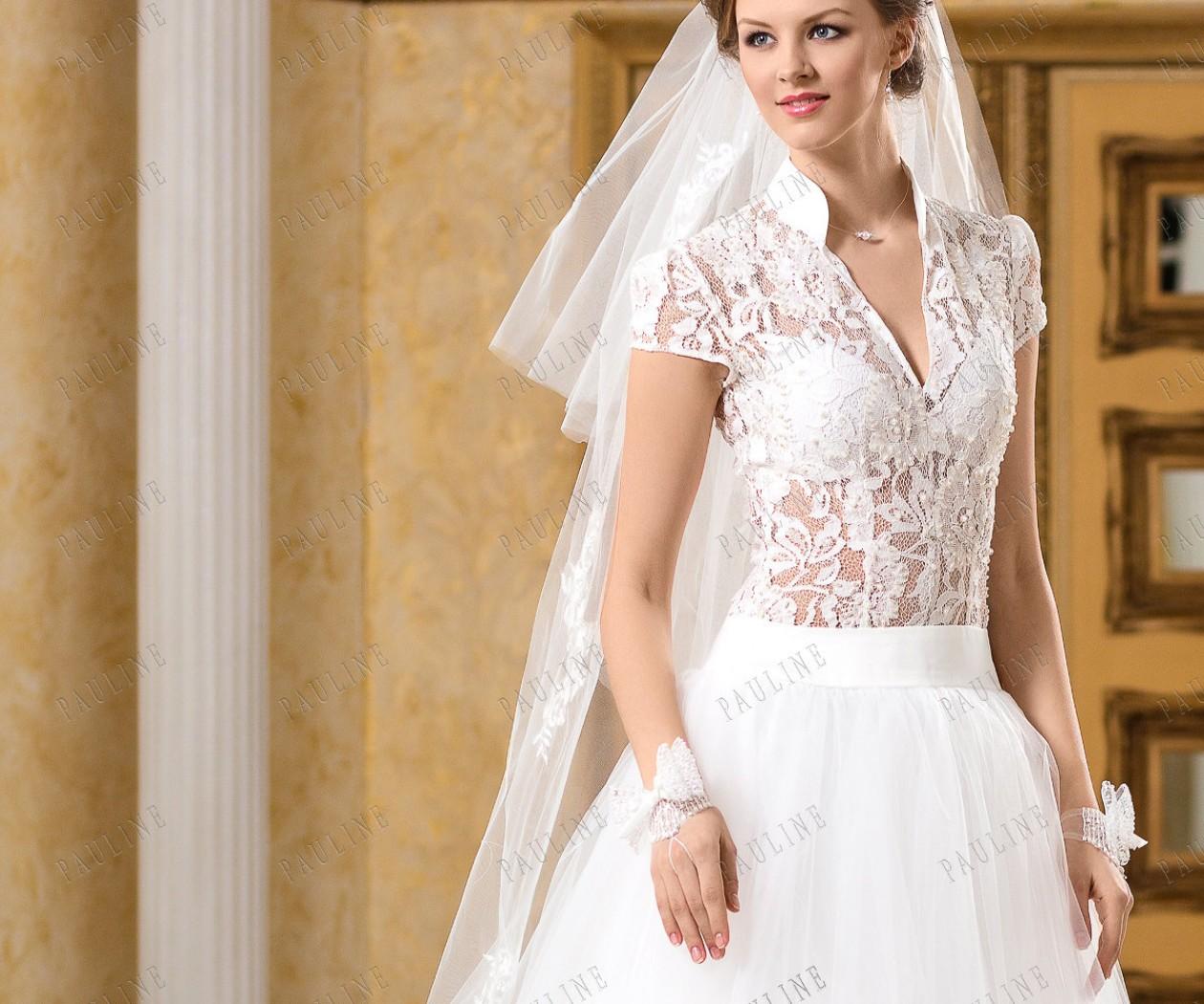 Кружевное свадебное платье с фатиновой юбкой АНДРЭ