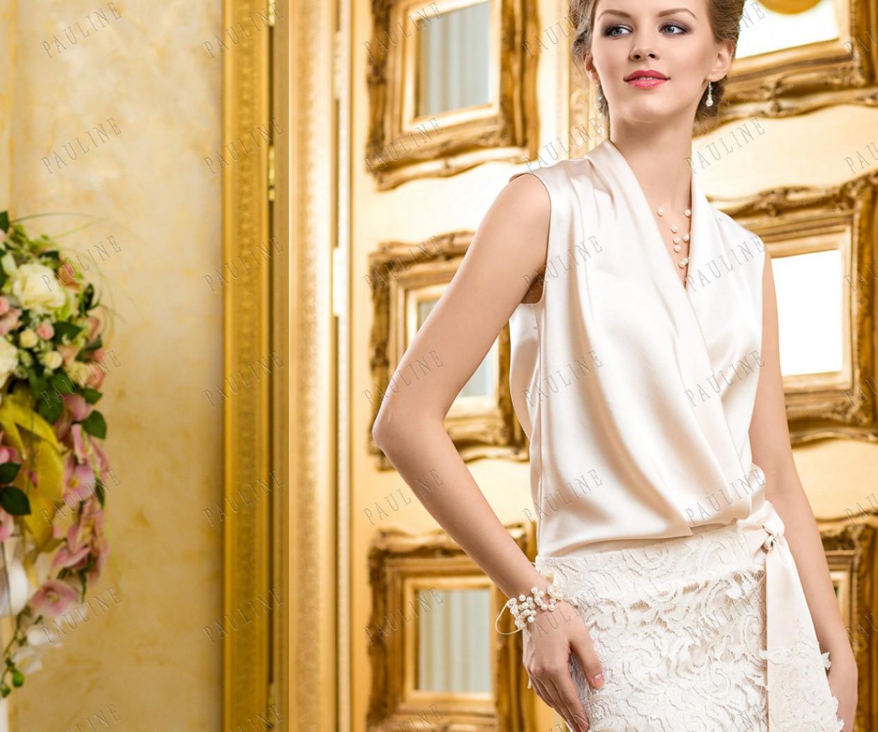 Короткое атласное платье с кружевом БЕЙЛЬ