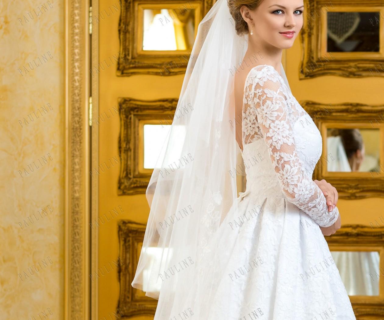Пышное свадебное платье с кружевным рукавом ДАЛИ Миа