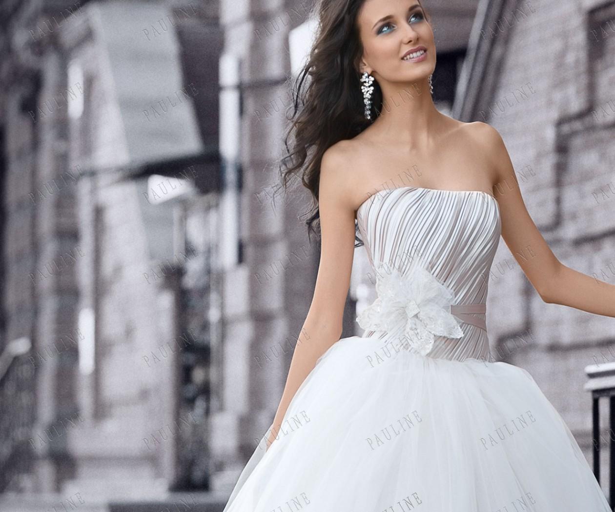 Пышное свадебное платье пудрового цвета ЛАНВИ