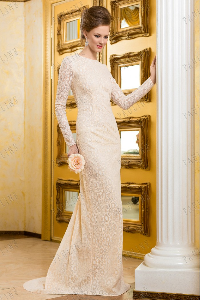 Кружевное свадебное платье с открытой спиной МАТИС