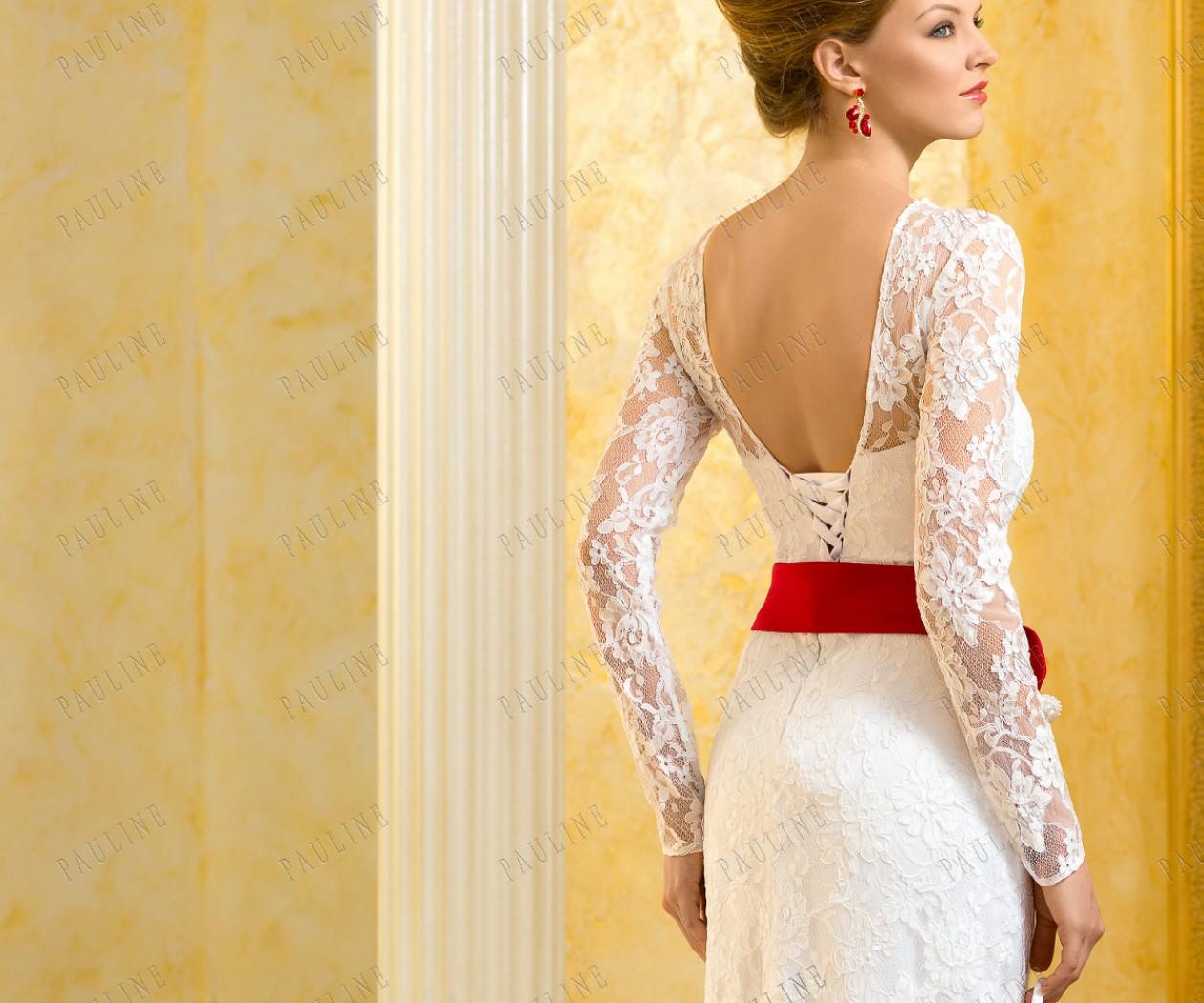 Прямое свадебное платье с рукавом РЕНЭ длинное