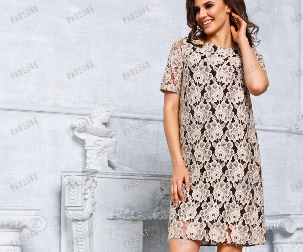 Короткое кружевное платье с рукавом БОГЕМА Бейлиз