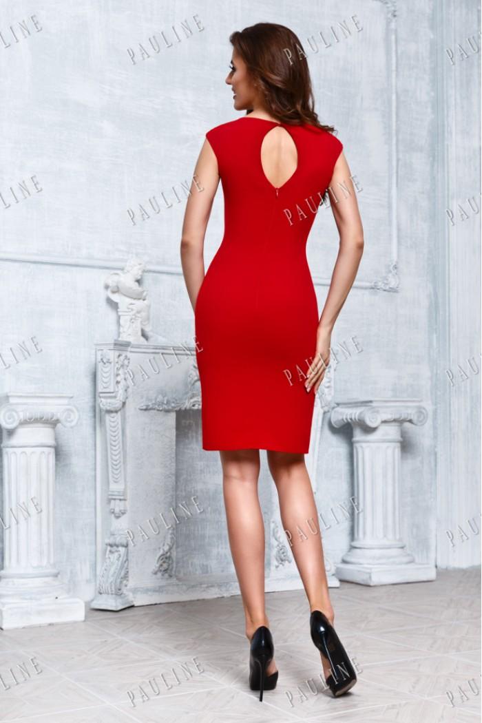Элегантное платье-футляр красного цвета БРАЙТ