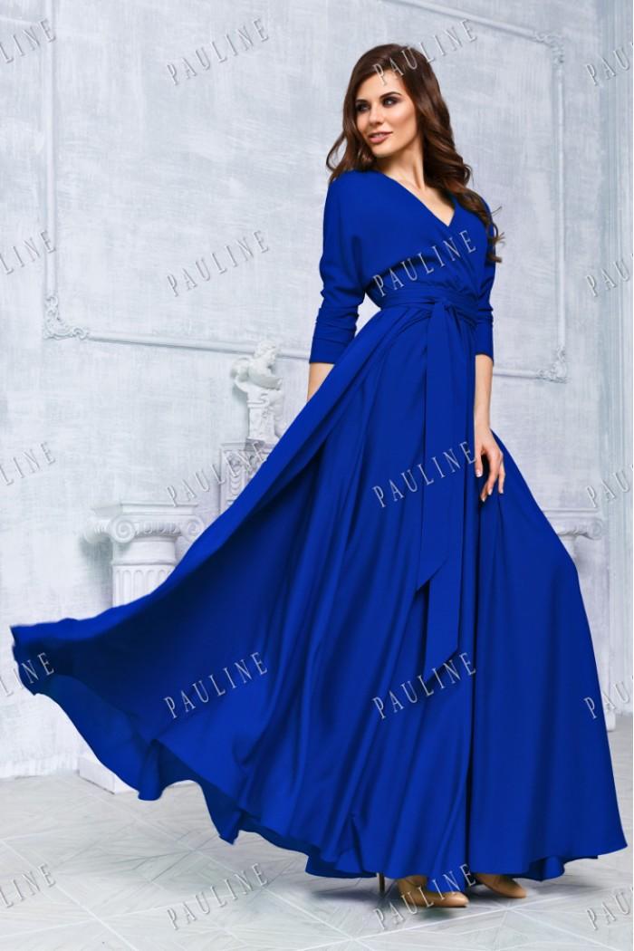 Длинное вечернее платье синего цвета КУБА