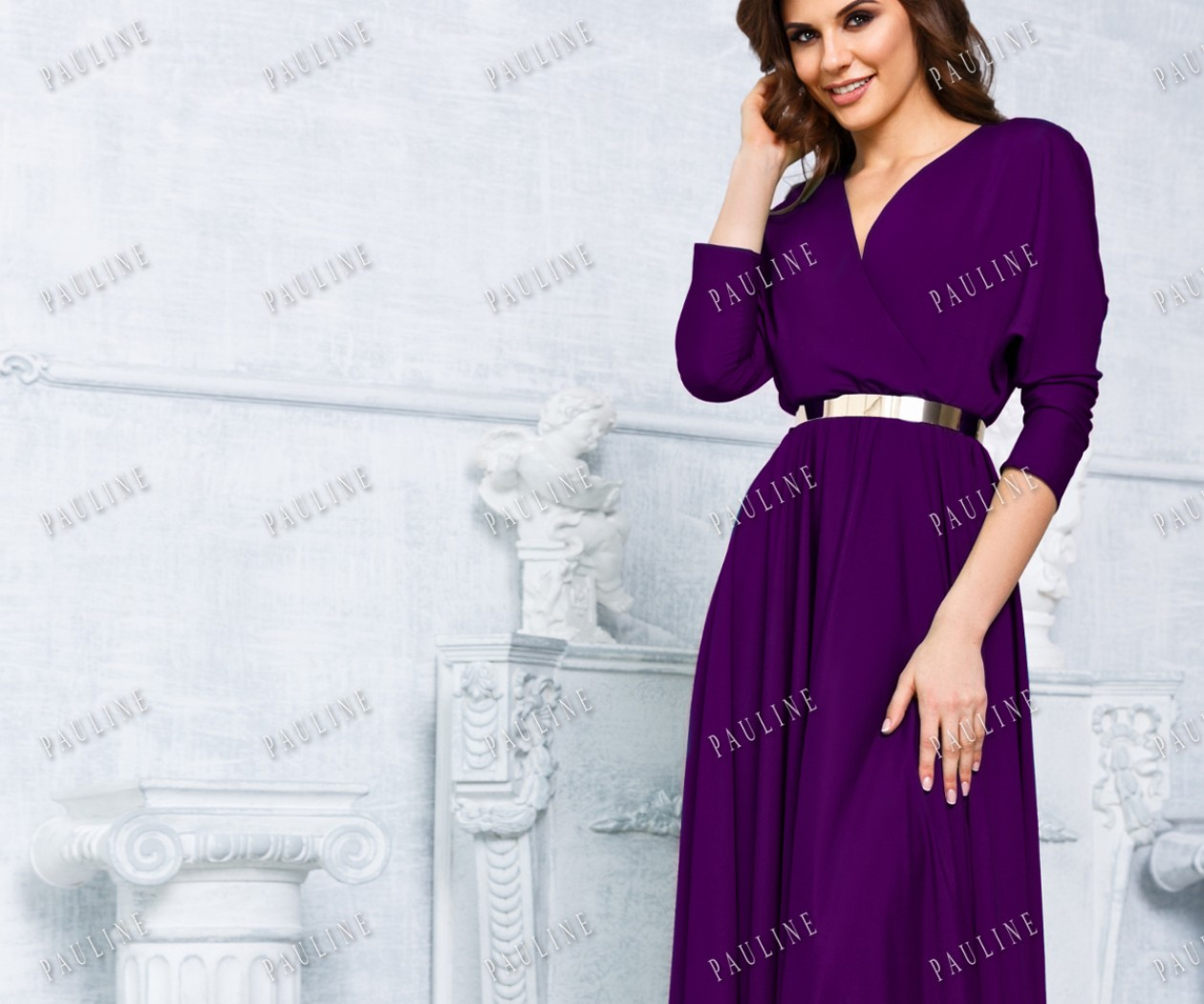 Вечернее платье с рукавом и длинной юбкой КУБА