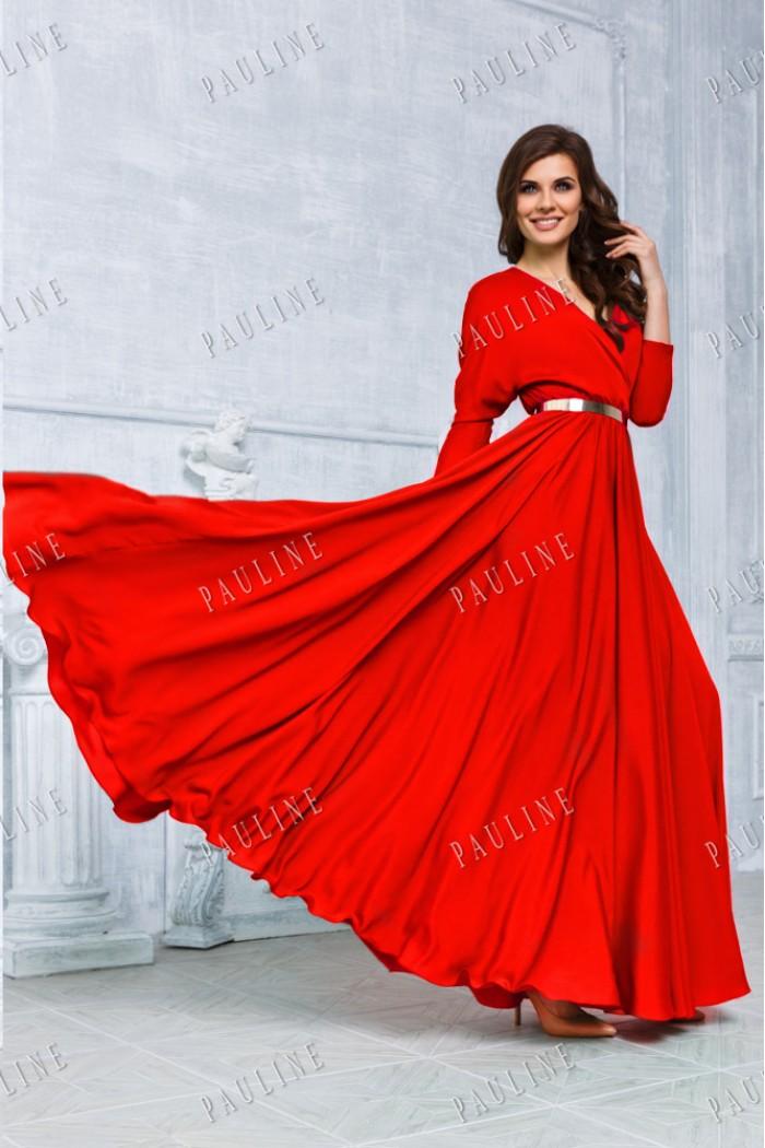 Красное длинное вечернее платье КУБА