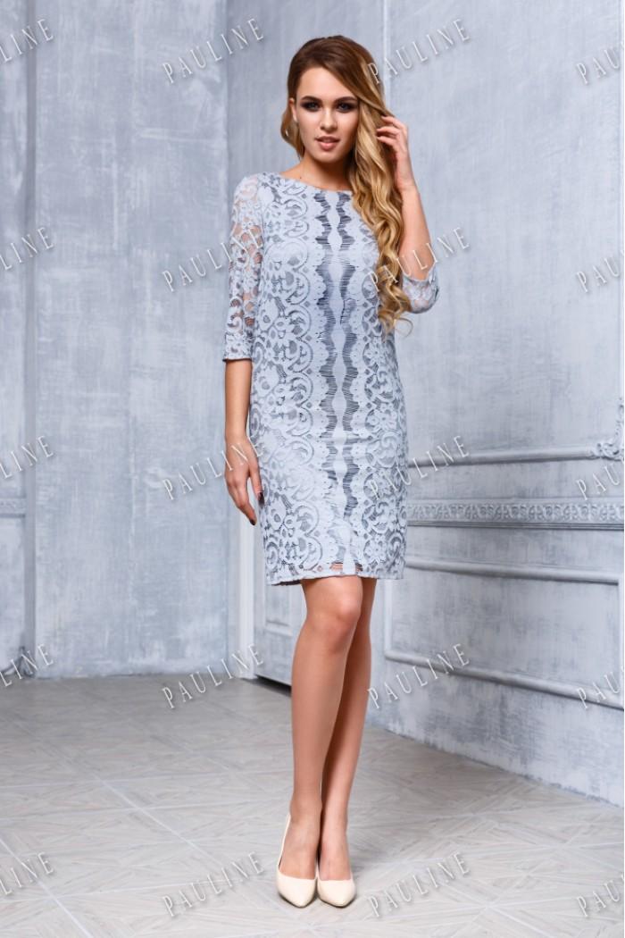 Атласное коктейльное платье с ажурным орнаментом ЭЛЬЗА