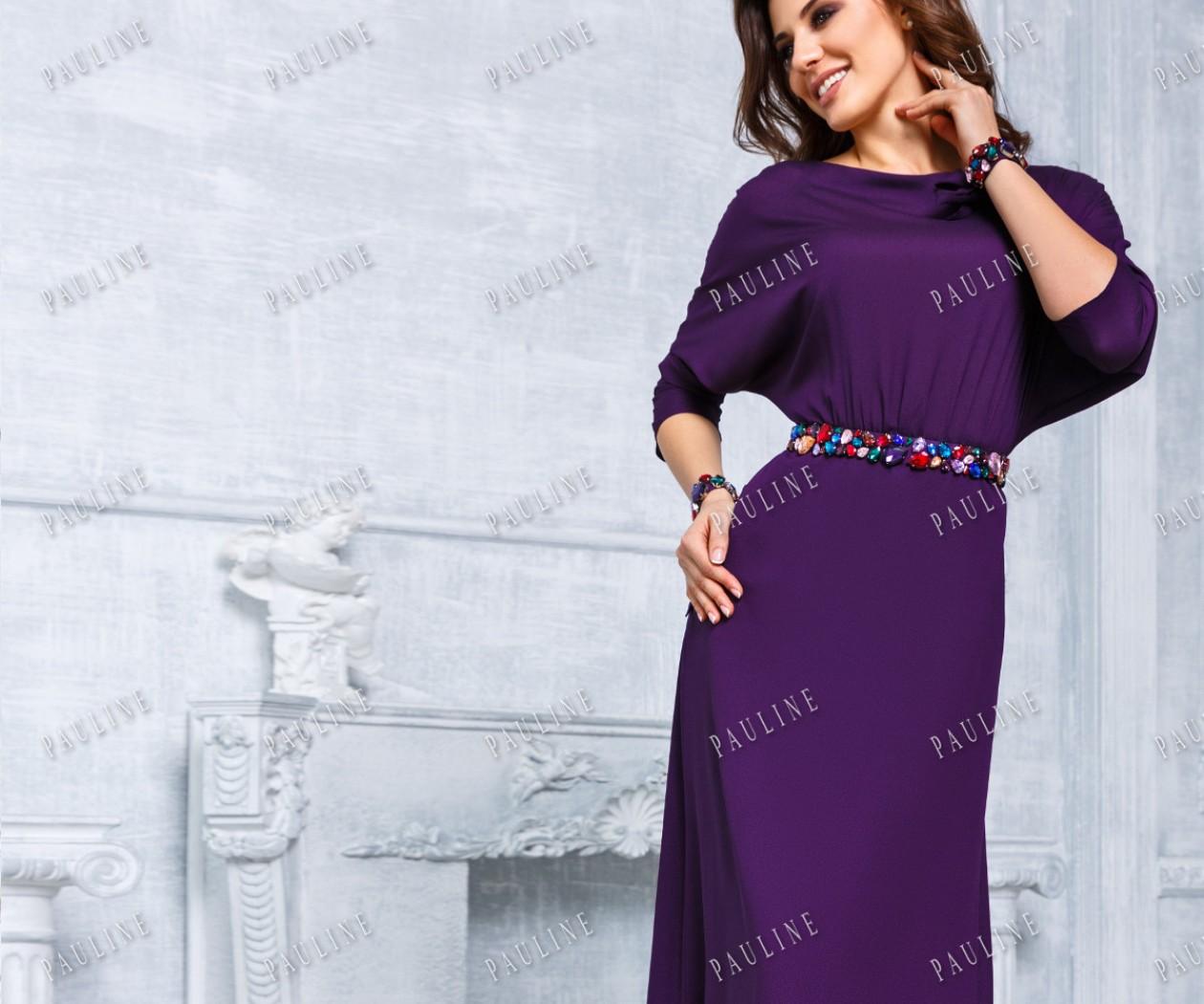 Длинное вечернее платье элегантного силуэта с кристаллами ЭРИКА ЛЮКС