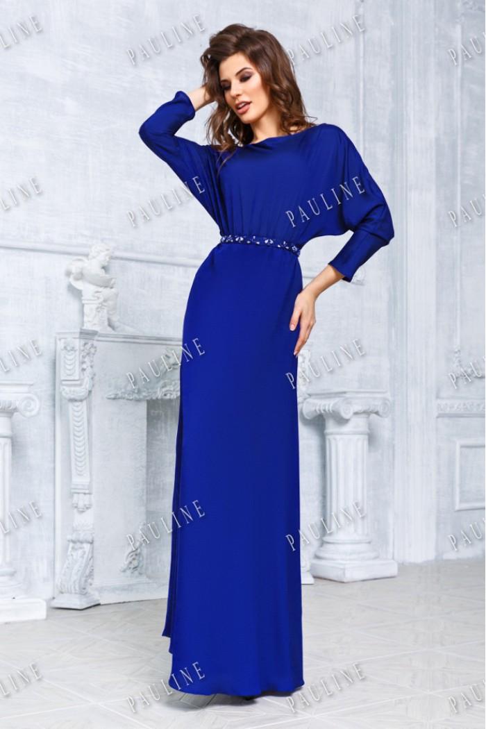 Восхитительное длинное вечернее платье синего цвета ЭРИКА ПРЕМИУМ
