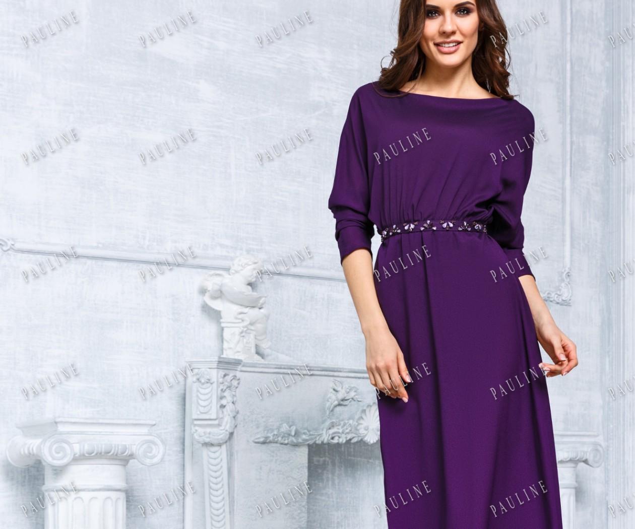 Длинное фиолетовое вечернее платье с рукавом ЭРИКА ПРЕМИУМ