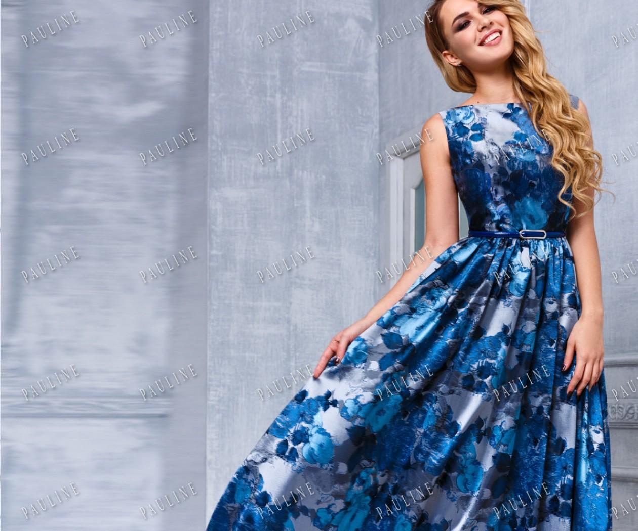 Длинное вечернее платье с живописным принтом ФЬЕР МАКСИ