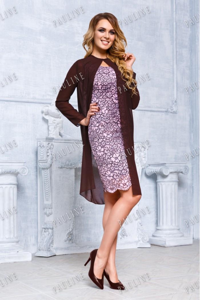 Шоколадно розовое кружевное платье-комбинация с тонкой накидкой ФРАНЧИ