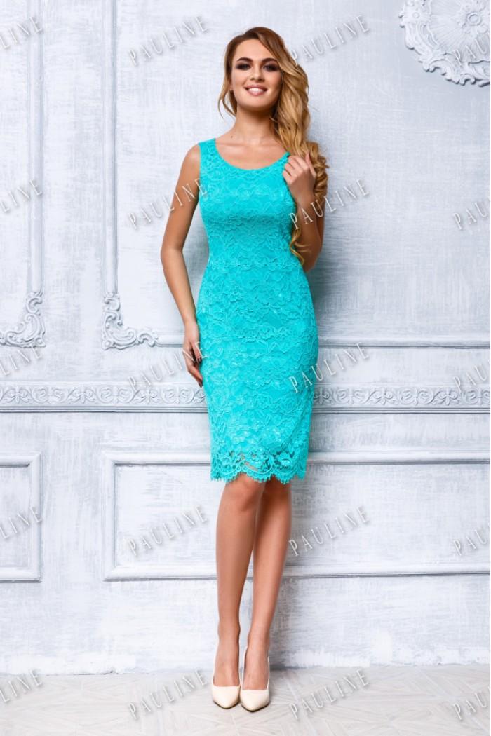 Короткое кружевное вечернее платье-комбинация с тонкой накидкой ФРАНЧИ