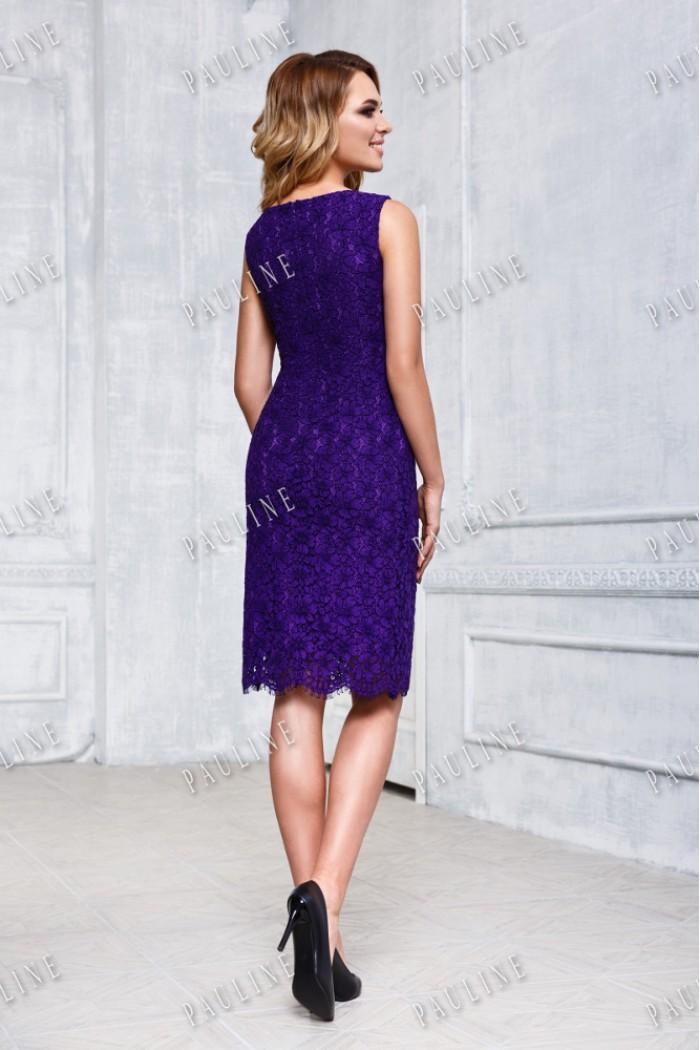 Фиолетовое вечернее платье-комбинация с тонкой накидкой ФРАНЧИ