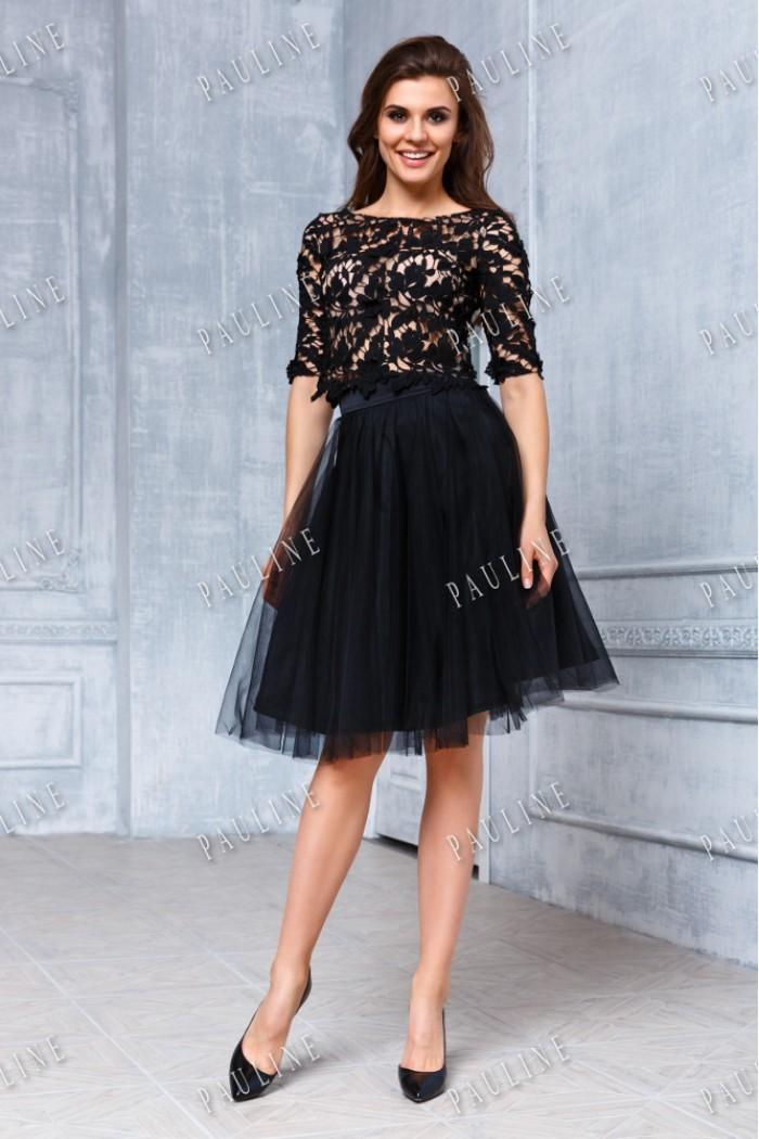 Короткое вечернее платье с кружевом и пышной юбкой ФРИВОЛЕ