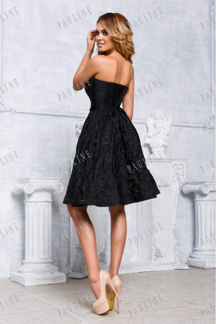 Черное вечернее короткое платье с драпированным лифом КИМБЕРЛИ
