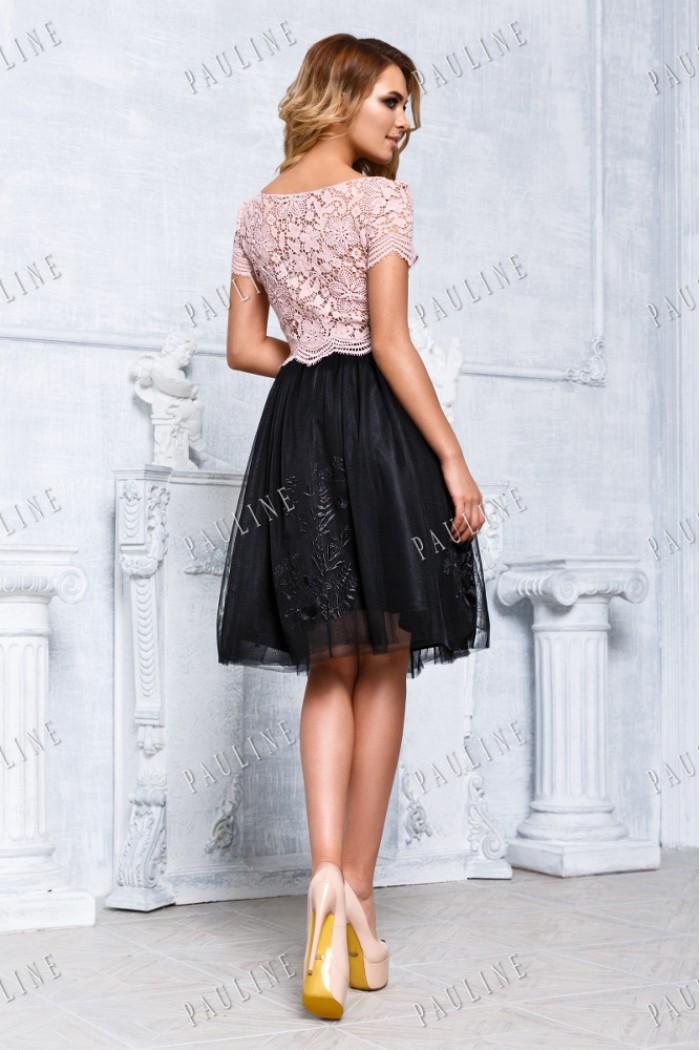 Вечернее платье с кружевным верхом и короткой юбкой ЛОРА