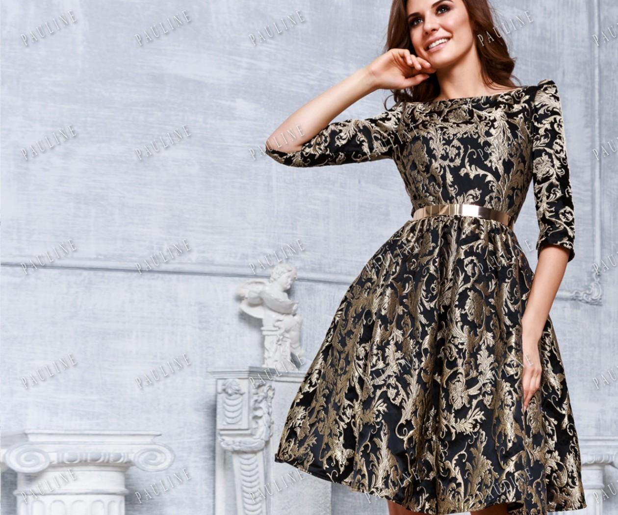 Нарядное вечернее платье с рукавом и короткой юбкой НОРА