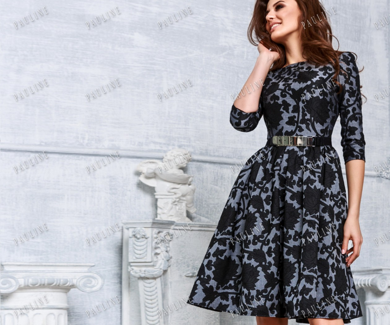 Стильное вечернее платье из жаккарда с рукавом НОРА