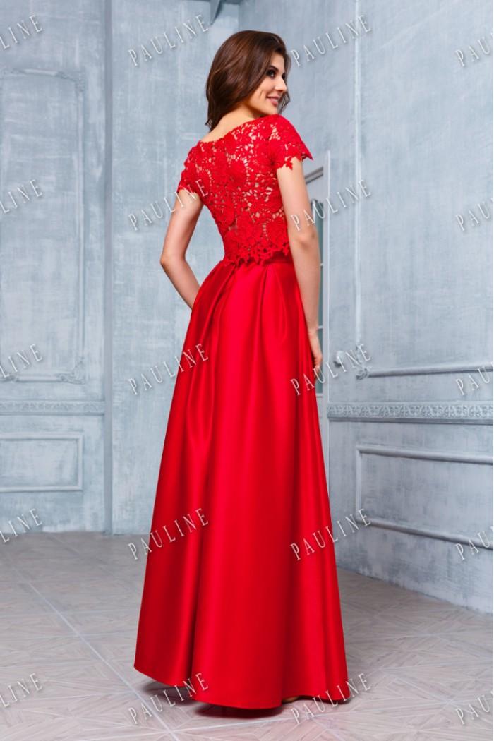 Длинное вечернее платье с атласной юбкой и кружевным верхом ФИБИ