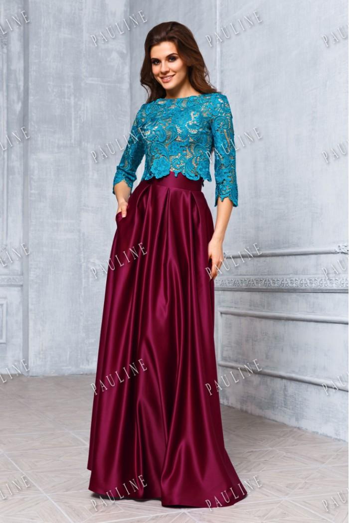 Длинное вечернее платье с атласной юбкой РЕЙЧЕЛ