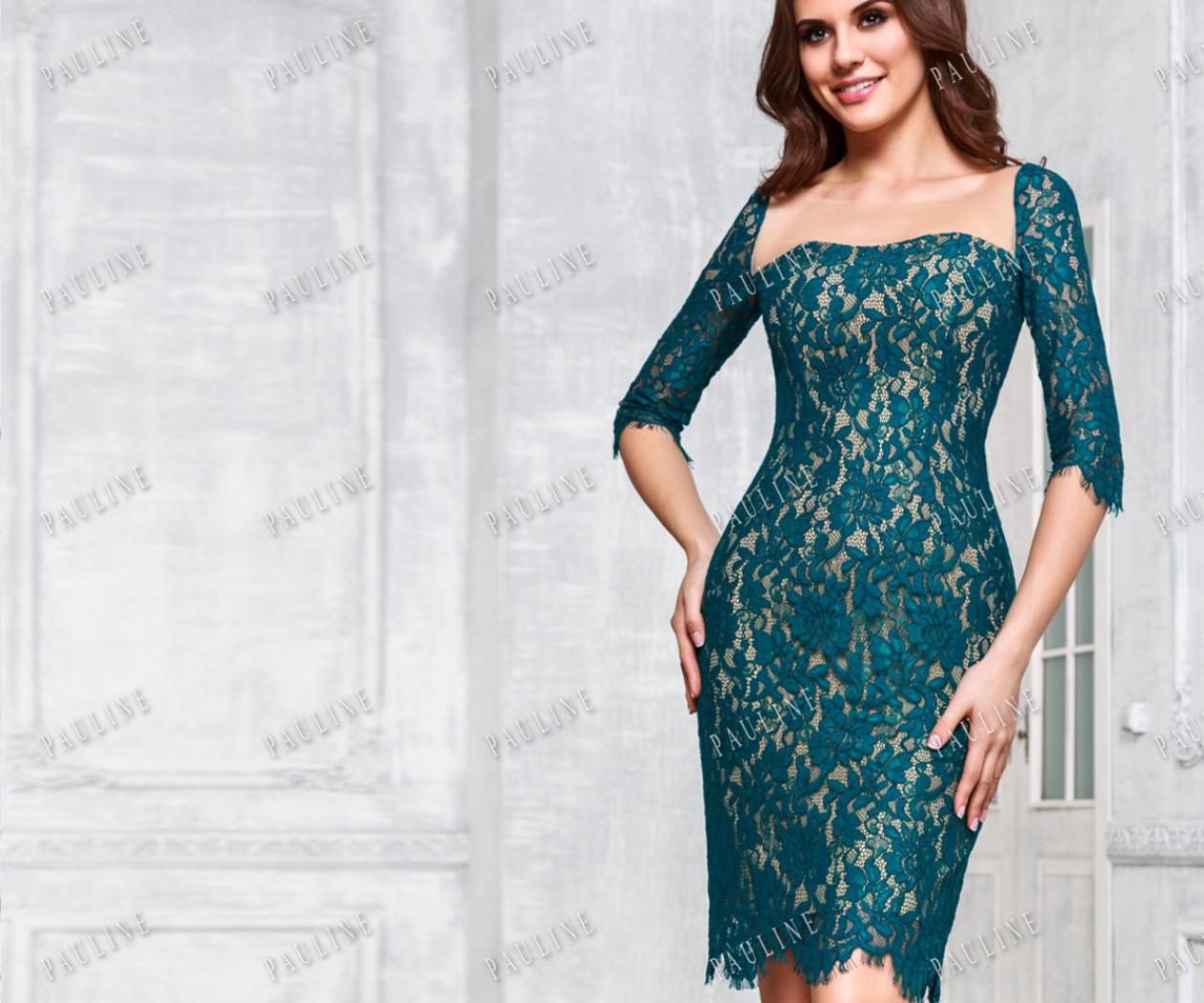 Кружевное короткое платье с рукавом РОБЕРТА