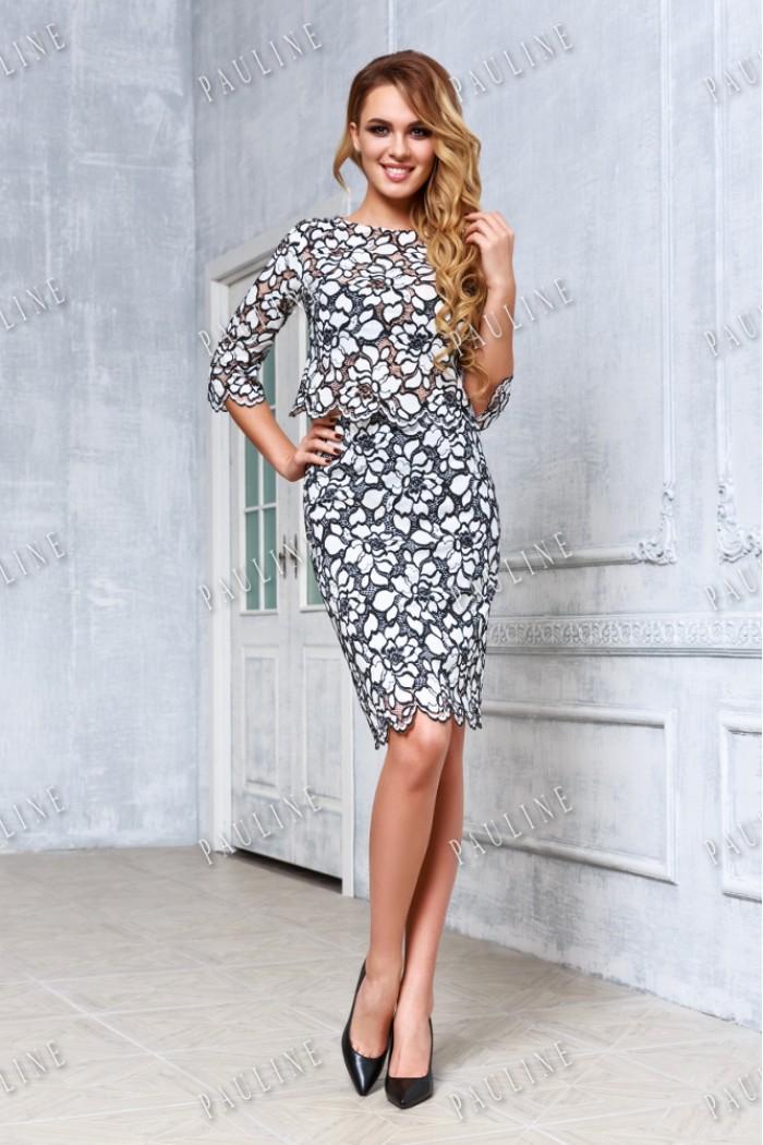 Кружевное романтичное платье бело черного цвета СИМОНА