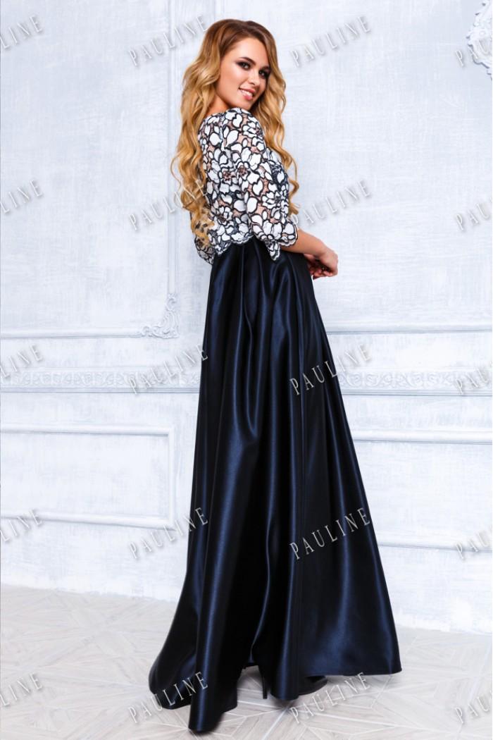 Вечернее платье с длинной атласной юбкой и кружевным топом СИМОНА-ПИЛАР