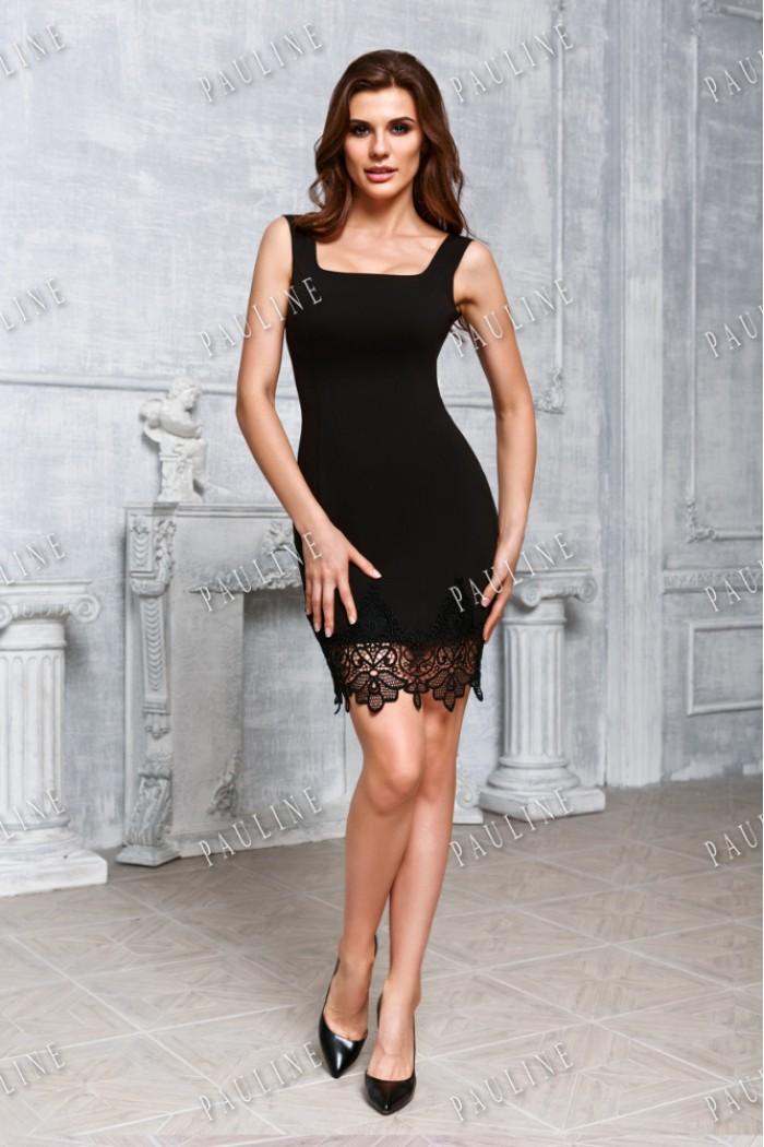 Черное коктейльное платье с кружевом СЬЮ