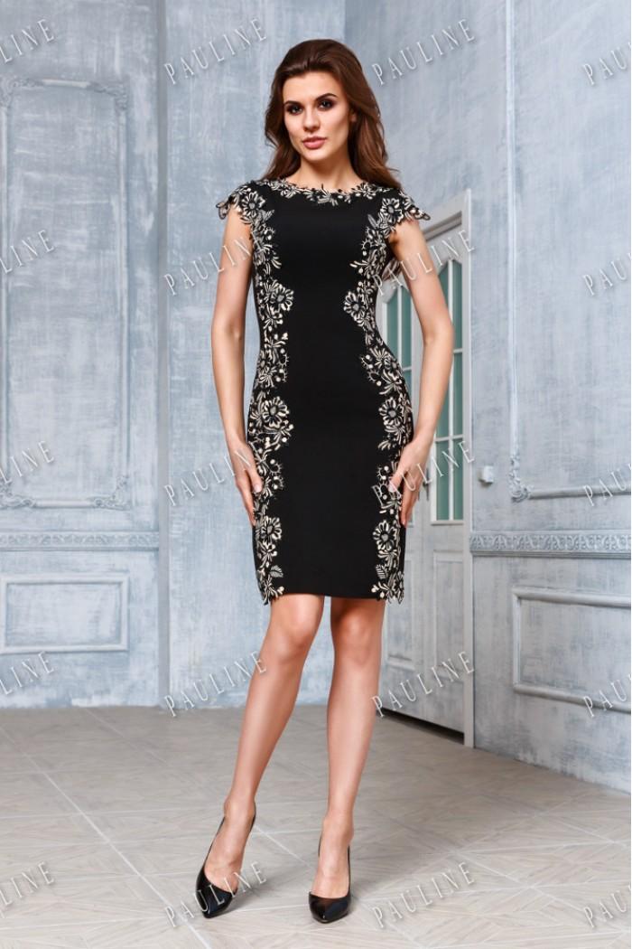 Роскошное черное платье-футляр с кружевом УМА БЛЭК