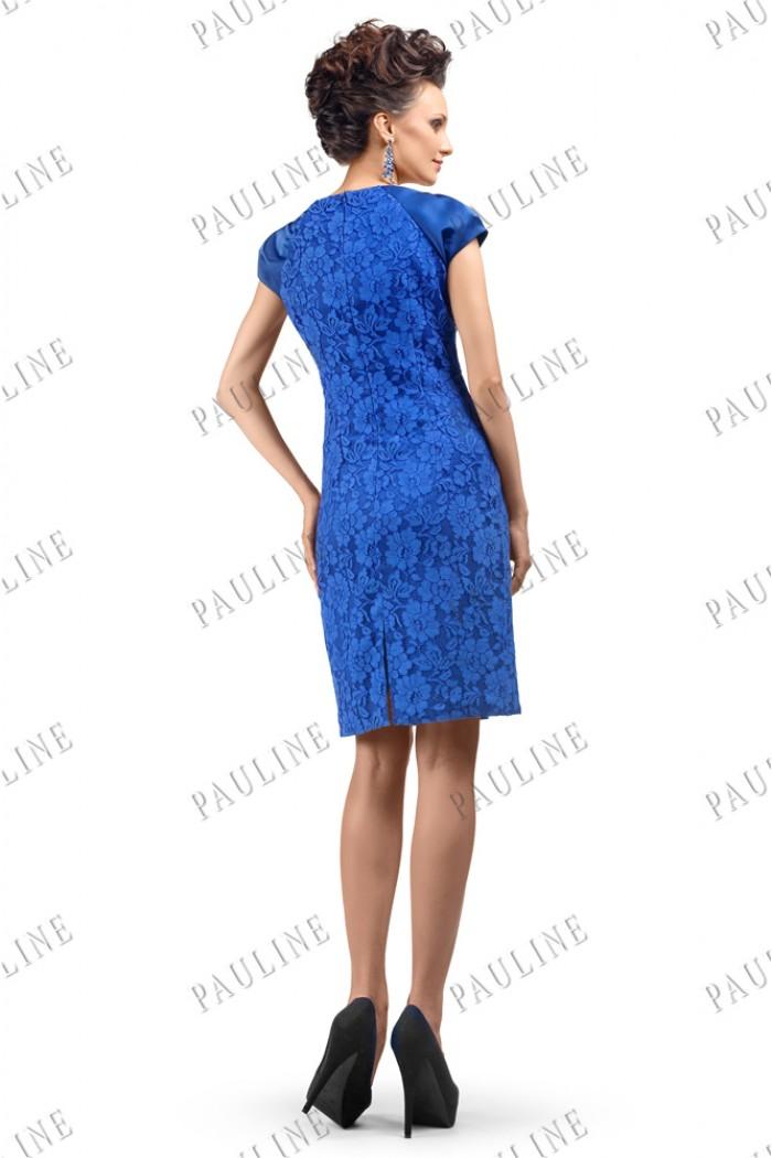 Коктейльное платье футляр синего цвета БЕРЖЕ