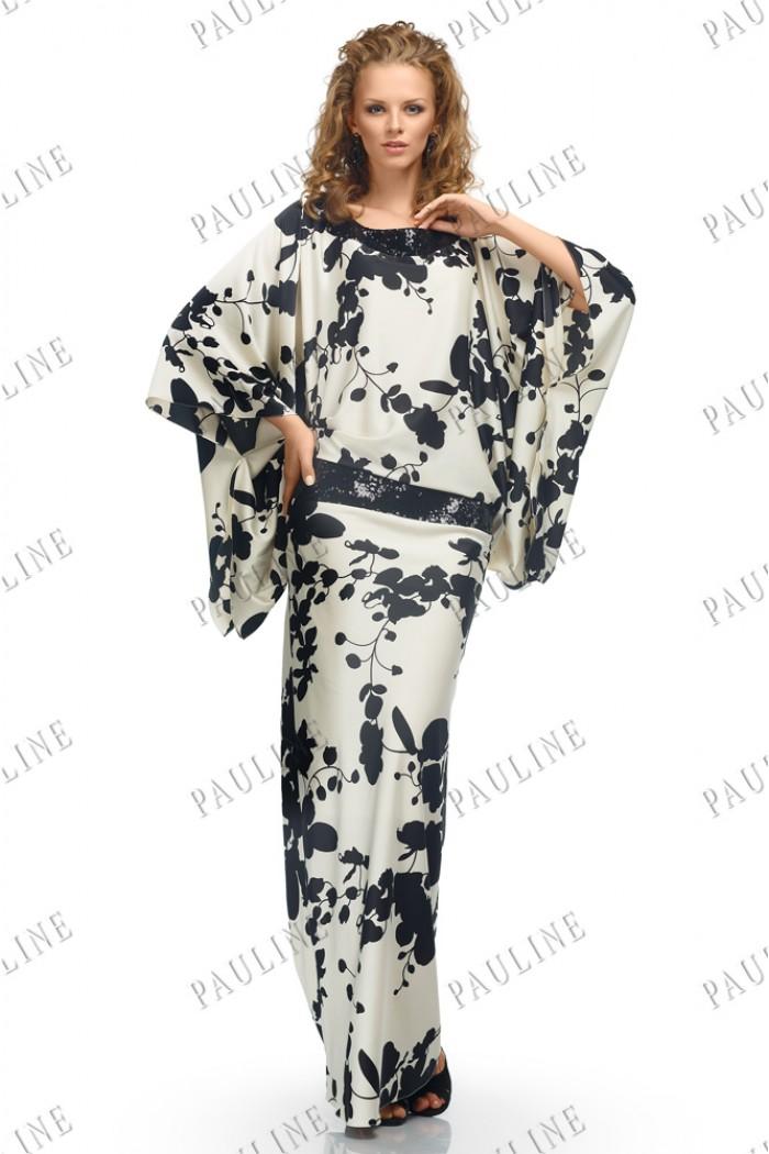 Длинное атласное вечернее платье БОНИТА Амаретто
