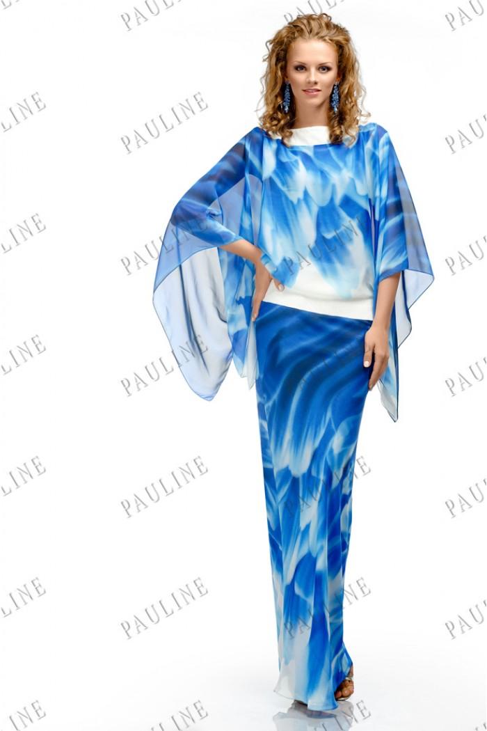 Длинное вечернее платье бело синего цвета БОНИТА Скай