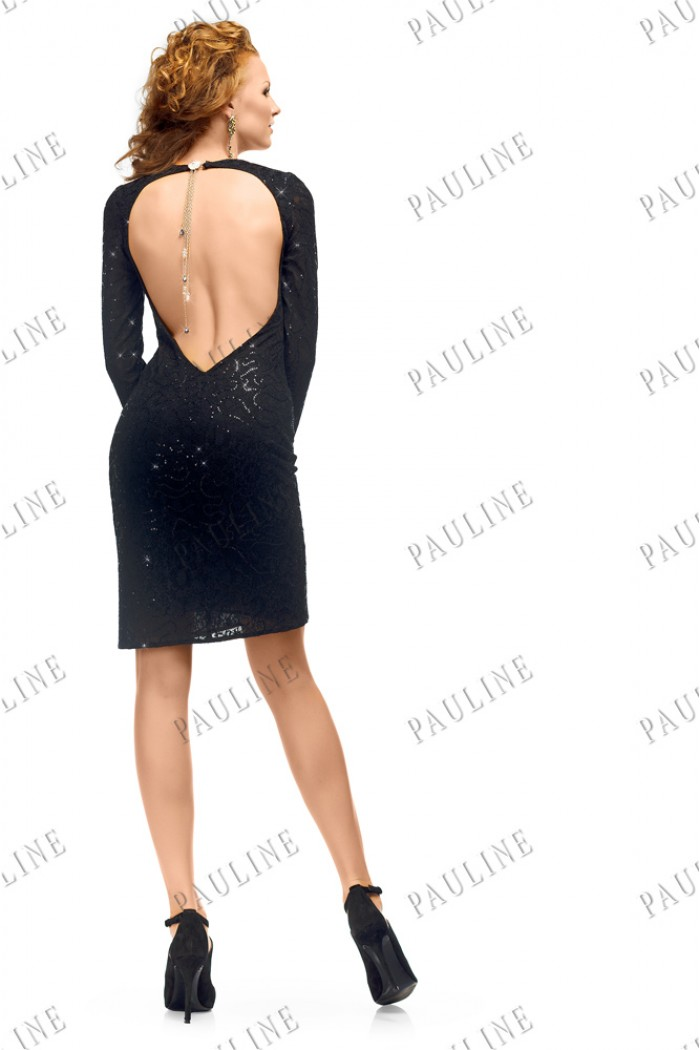 Черное кружевное платье с открытой спиной МАТИС Миди