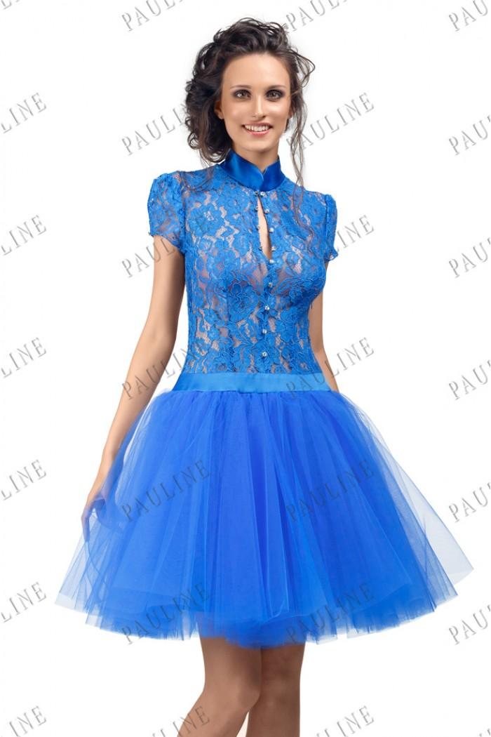 Синее короткое платье с кружевным верхом и пышной юбкой ФОРТУНА Мини