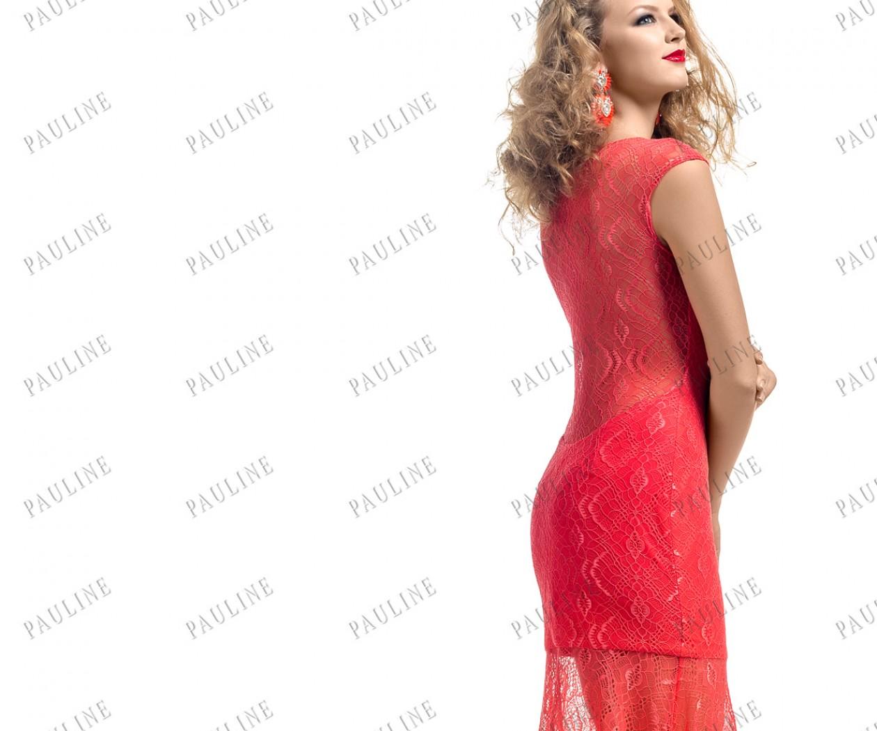 Кружевное вечернее платье кораллового цвета АНТАРИО