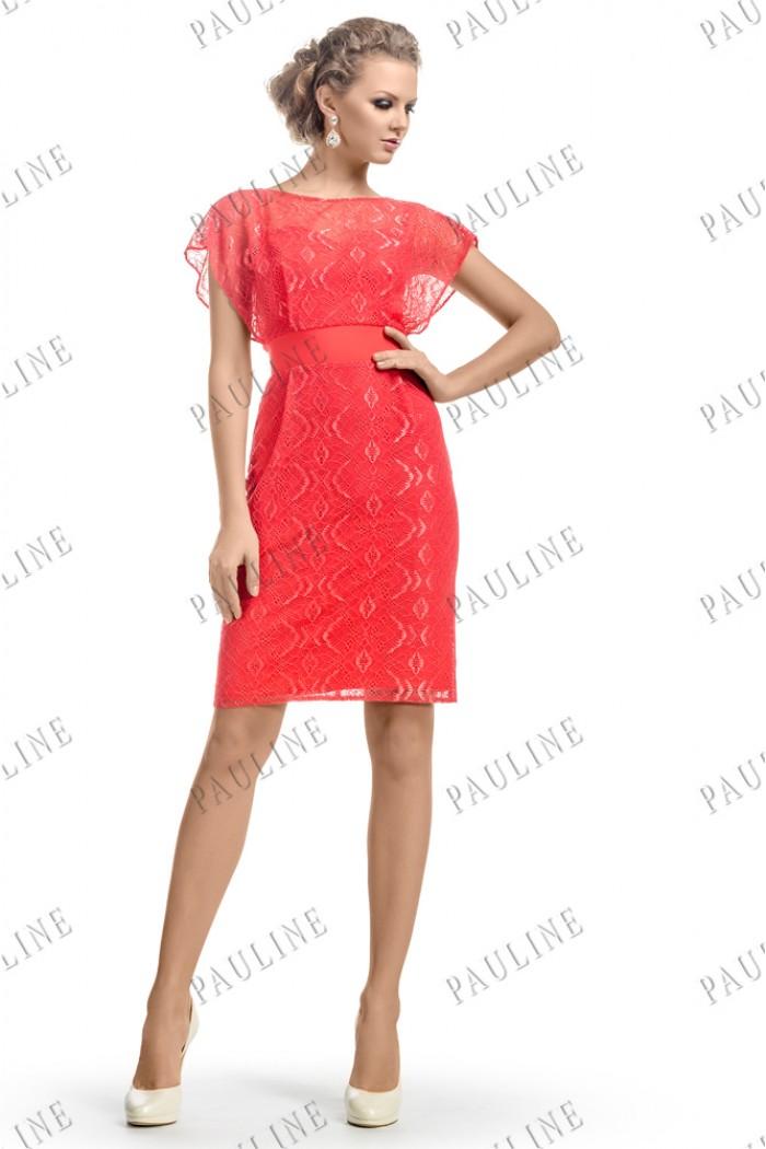 Кружевное короткое платье кораллового цвета ЛЕЙЯ ЛЕЙС